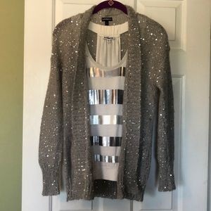 Sequin fly-away sweater